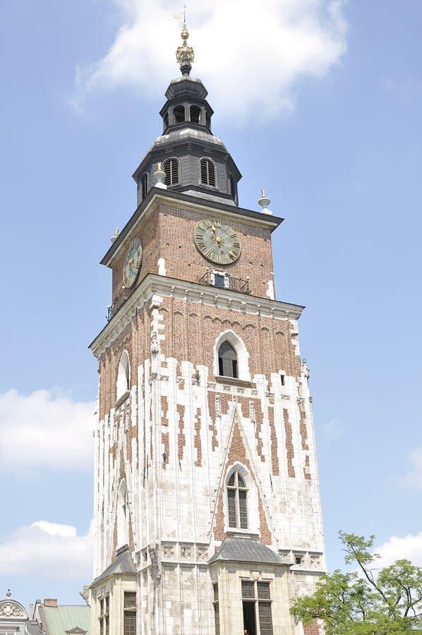 Gotiskt stadshustorn, Krakow, Polen royaltyfri foto