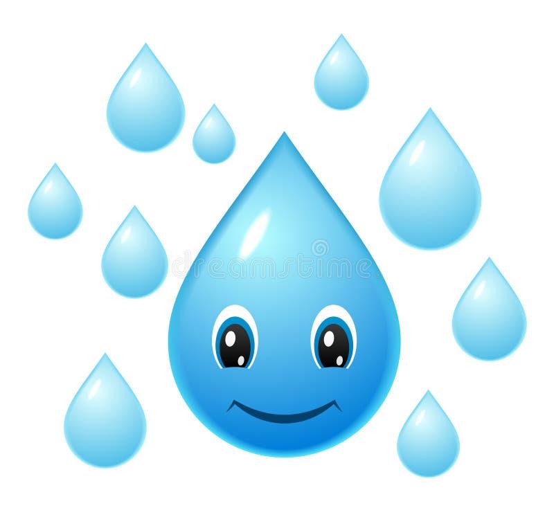 Gotita de agua sonriente stock de ilustración