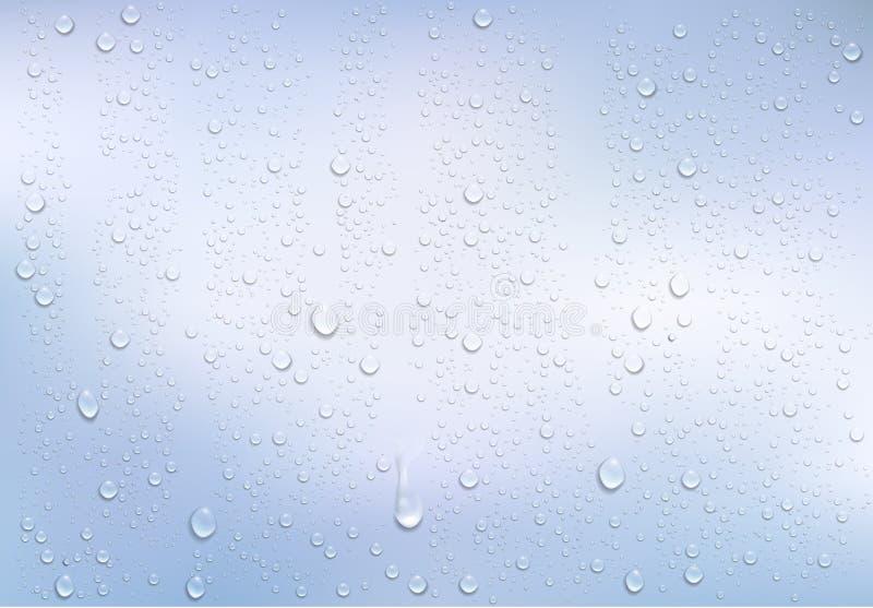 Gotitas de agua realistas en la ventana transparente stock de ilustración