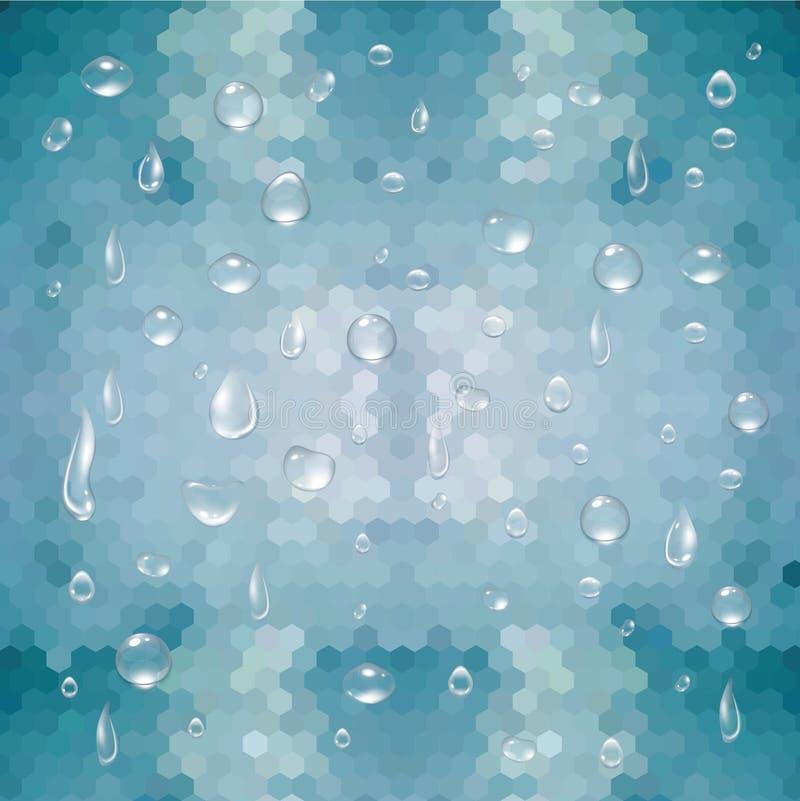Gotitas de agua y fondo geométrico stock de ilustración