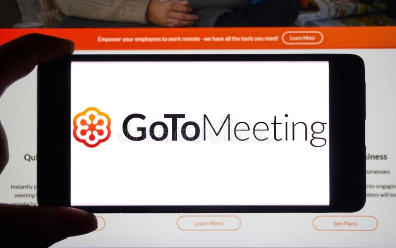 GoToMeeting logo and app on mobile screen. Montreal, Canada - April 8, 2020: GoToMeeting logo and app on mobile screen. GoToMeeting is web service created and stock photo