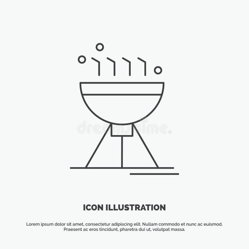 Gotować bbq, camping, jedzenie, grill ikona Kreskowy wektorowy szary symbol dla UI, UX, strona internetowa i wisz?cej ozdoby zast royalty ilustracja