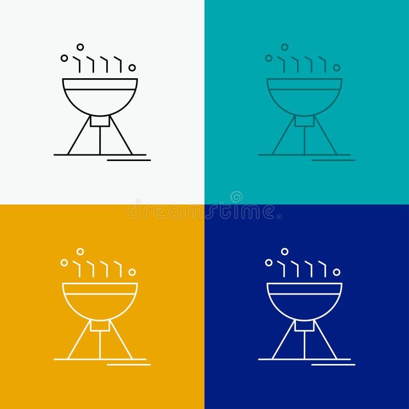 Gotować bbq, camping, jedzenie, grill ikona Nad Różnorodnym tłem Kreskowego stylu projekt, projektuj?cy dla sieci i app EPS 10 we ilustracji