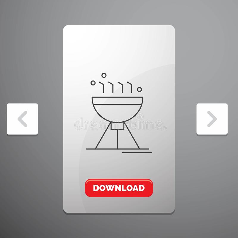 Gotować bbq, camping, jedzenie, grill Kreskową ikonę w biby paginacji suwaka projekcie & Czerwonego ściąganie guzika, royalty ilustracja