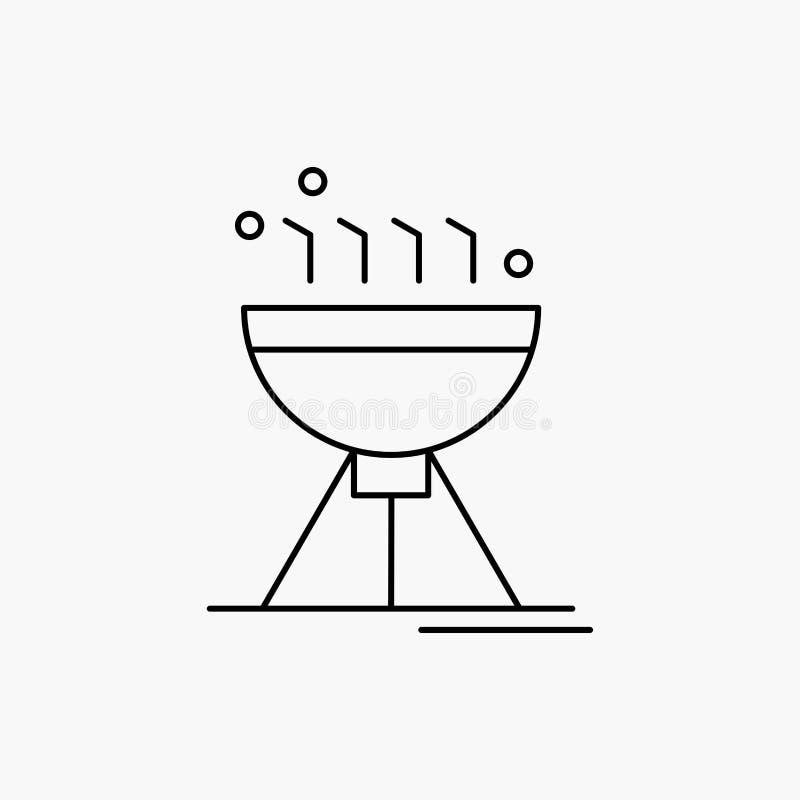 Gotować bbq, camping, jedzenie, grill Kreskowa ikona Wektor odosobniona ilustracja ilustracji