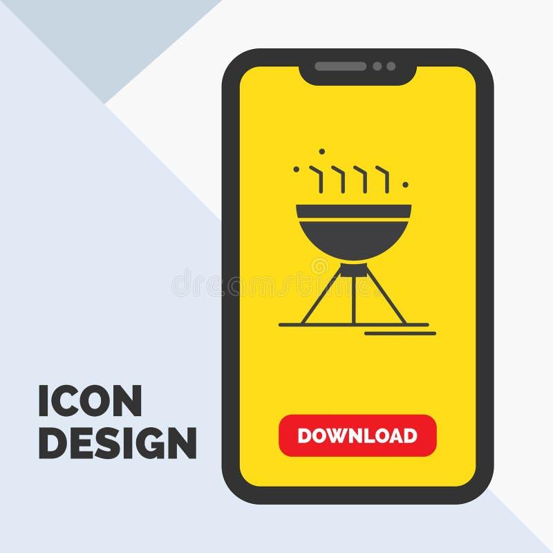 Gotować bbq, camping, jedzenie, grilla glifu ikona w wiszącej ozdobie dla ściąganie strony ? royalty ilustracja