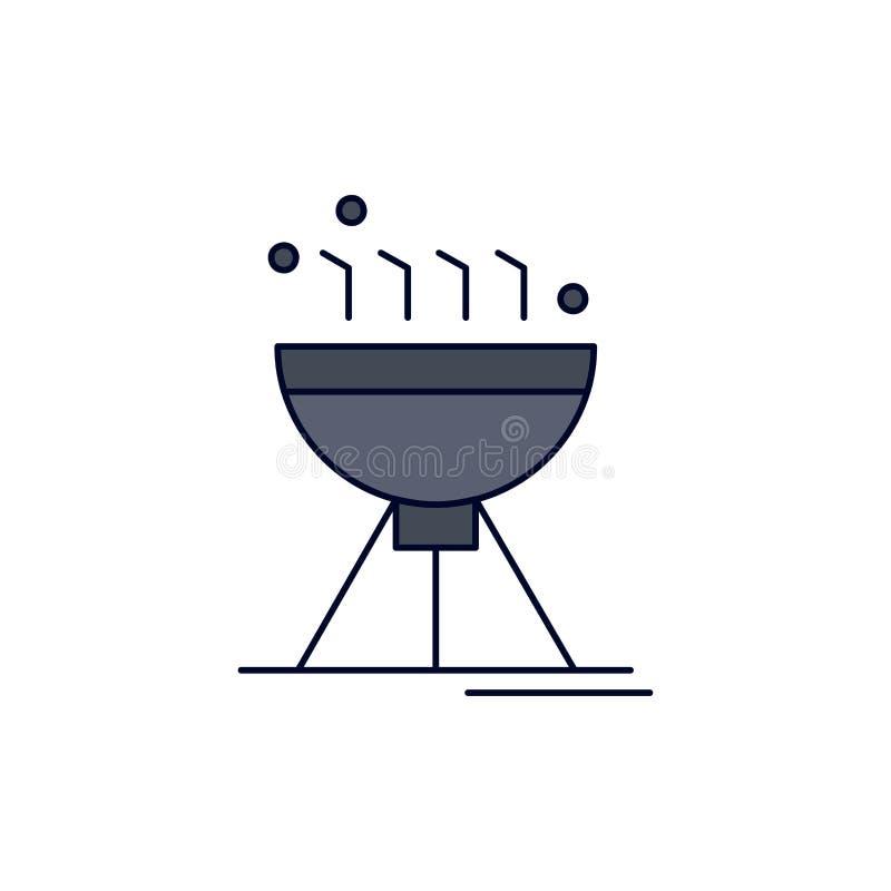 Gotować bbq, camping, jedzenie, grilla koloru ikony Płaski wektor ilustracja wektor