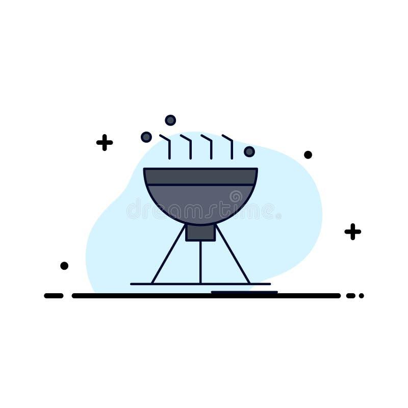 Gotować bbq, camping, jedzenie, grilla koloru ikony Płaski wektor ilustracji