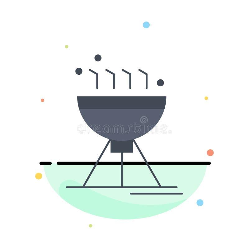 Gotować bbq, camping, jedzenie, grilla koloru ikony Płaski wektor royalty ilustracja