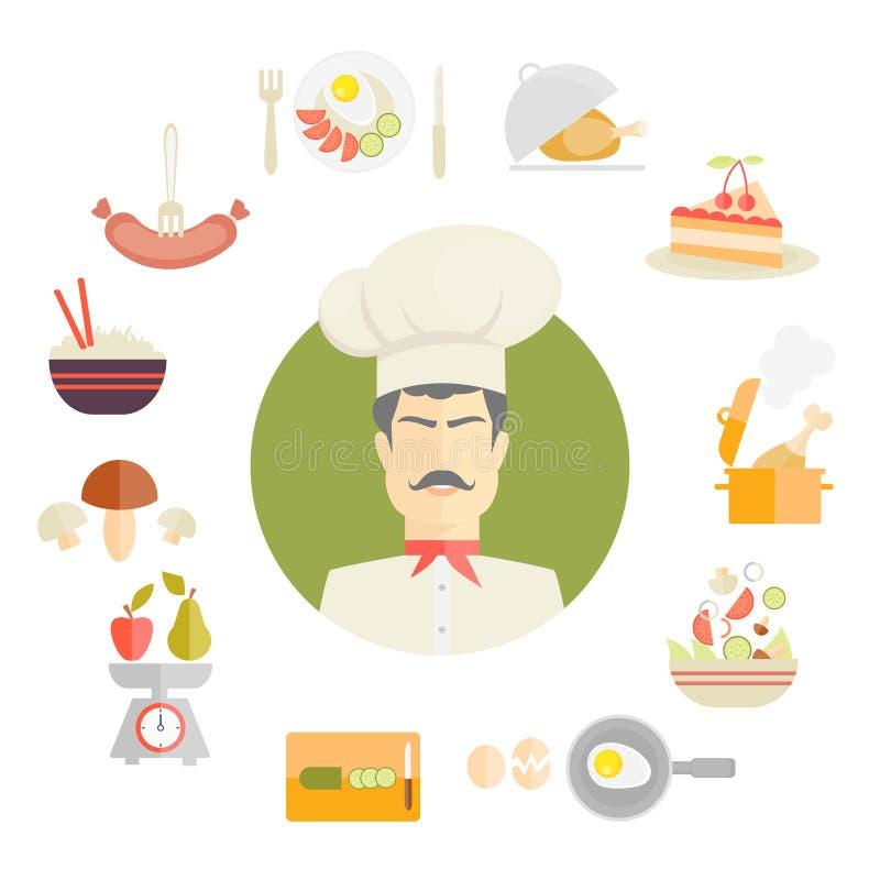 Gotować i karmowe ikony w sadło stylu ilustracja wektor