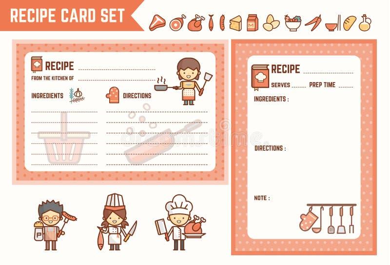 Gotować i kuchenny przepis karty set royalty ilustracja