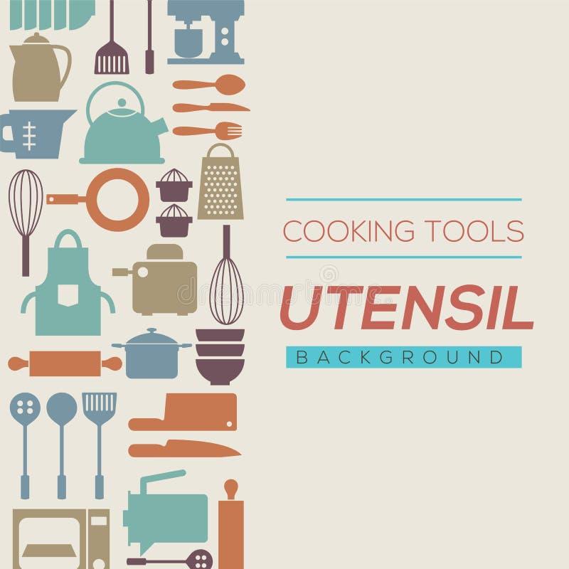 Gotować narzędzia I naczynia tło ilustracja wektor