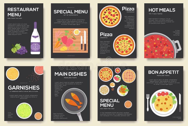 Gotować set karty z menu wektoru tłem Kulinarny menu sztandaru projekt ilustracja wektor