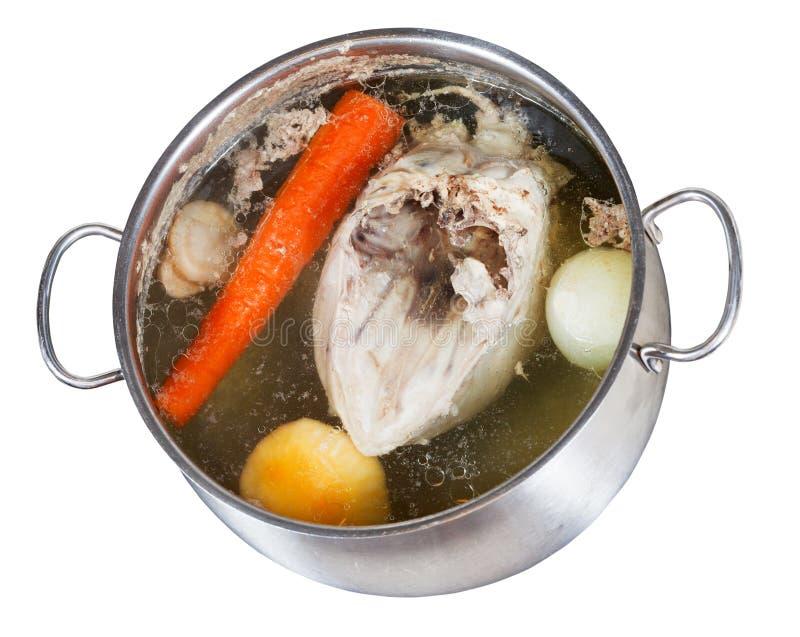 Gotować się kurczaka rosół odizolowywam zdjęcia stock
