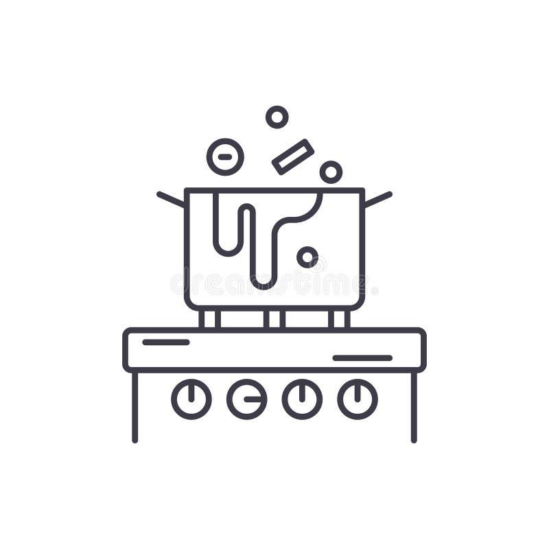 Gotować w kuchennym kreskowym ikony pojęciu Gotujący w kuchennej wektorowej liniowej ilustracji, symbol, znak ilustracji