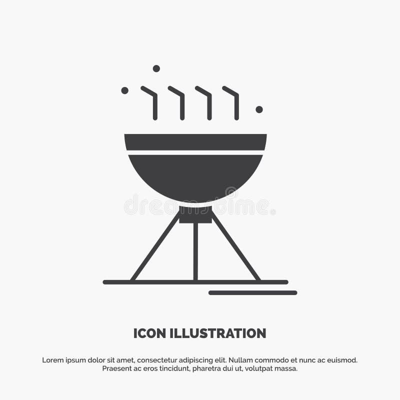 Gotowa? bbq, camping, jedzenie, grill ikona glifu wektorowy szary symbol dla UI, UX, strona internetowa i wisz?cej ozdoby zastoso ilustracji