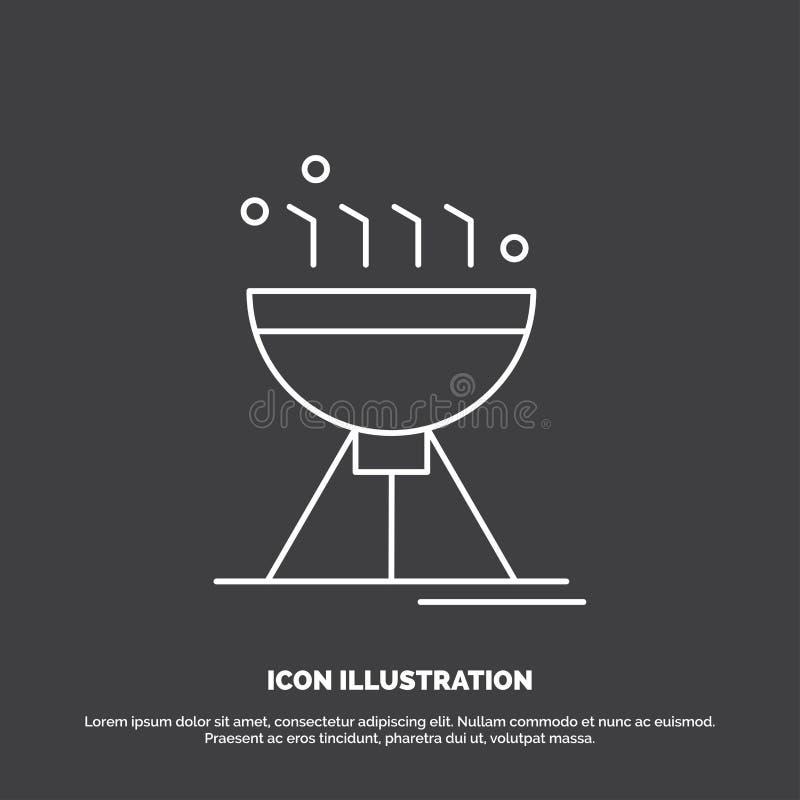Gotowa? bbq, camping, jedzenie, grill ikona Kreskowy wektorowy symbol dla UI, UX, strona internetowa i wisz?cej ozdoby zastosowan royalty ilustracja