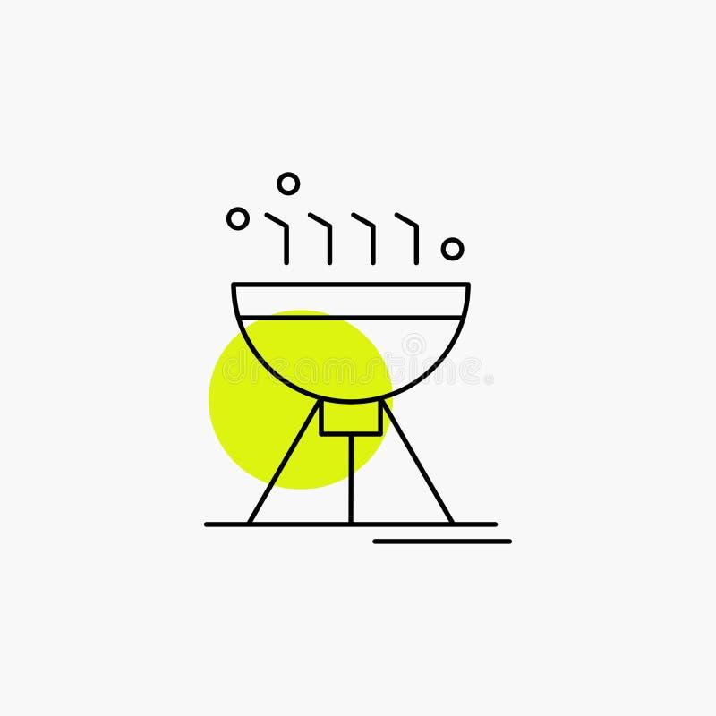 Gotowa? bbq, camping, jedzenie, grill Kreskowa ikona ilustracja wektor