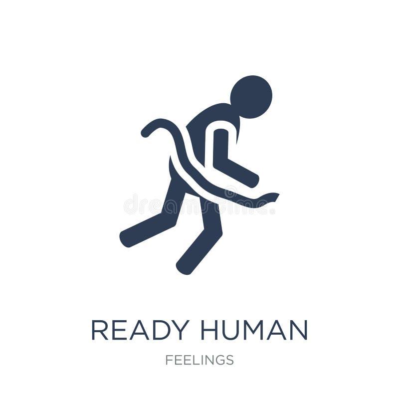 gotowa ludzka ikona Modnego płaskiego wektoru gotowa ludzka ikona na biały b ilustracji