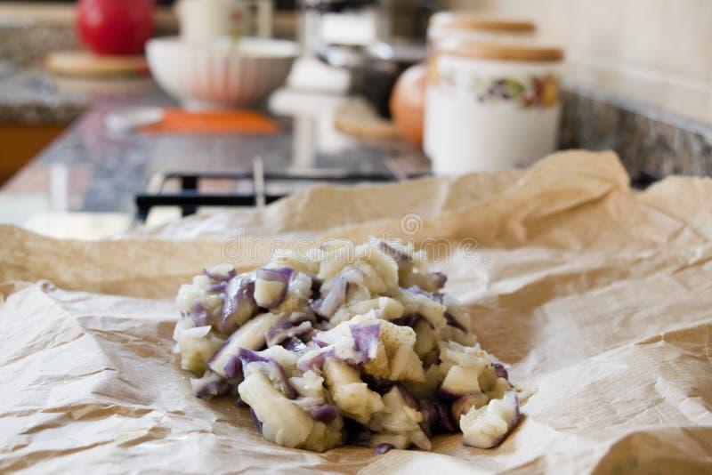 Gotowani aubergines przygotowywać smażących croquettes fotografia royalty free