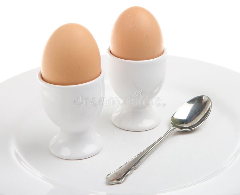 gotowani dwa jajka zdjęcie royalty free