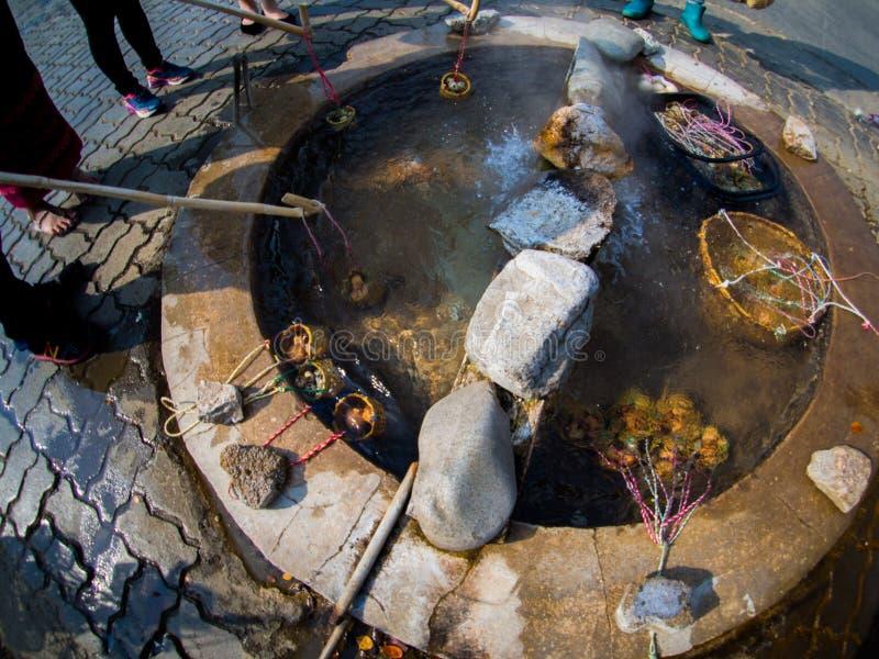 Gotowani jajka w koszach przy gorącą wiosna zdjęcia royalty free