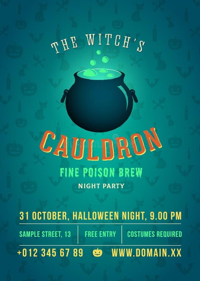 Gotowania i Rozjarzonego czarownica kotła Halloween Wektorowego przyjęcia rocznika Abstrakcjonistyczny plakat karta lub ulotka, B ilustracji