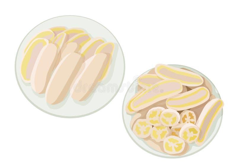 Gotowany banan na talerzu ilustracja wektor