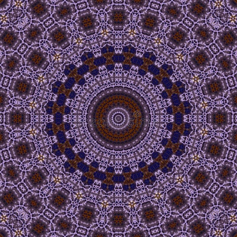Gotowany fiołek, błękit, brąz, biały okrąg koronki tille ześrodkowywał wzór ilustracja wektor