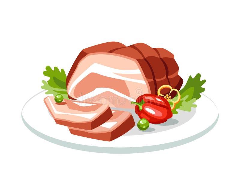 Gotowany gotujący piec na grillu pieczony wakacyjny mięsny wołowiny wieprzowiny naczynie na talerzu royalty ilustracja
