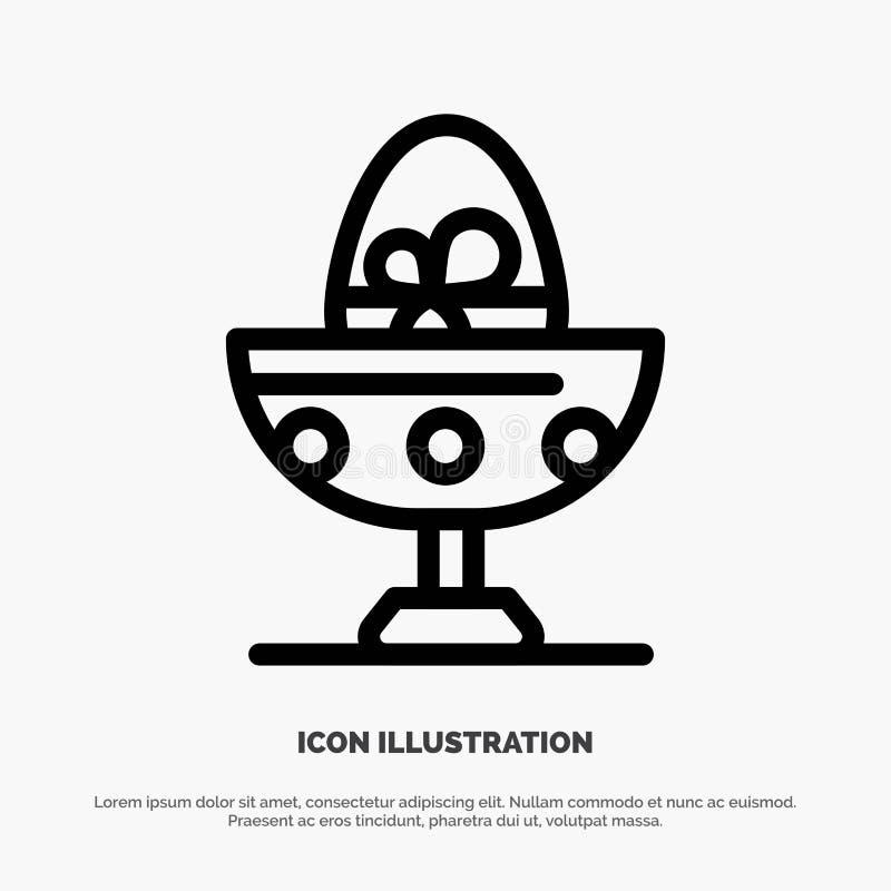 Gotowany, Gotowany jajko, wielkanoc, jajko, jedzenie ikony Kreskowy wektor royalty ilustracja
