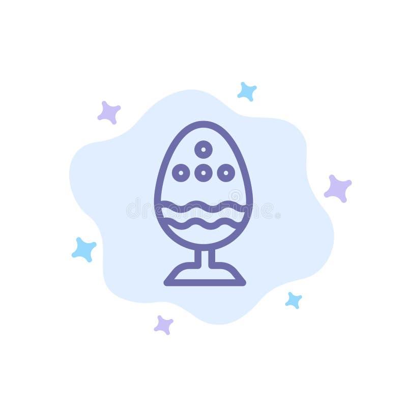 Gotowany, Gotowany jajko, wielkanoc, jajko, Karmowa Błękitna ikona na abstrakt chmury tle ilustracji
