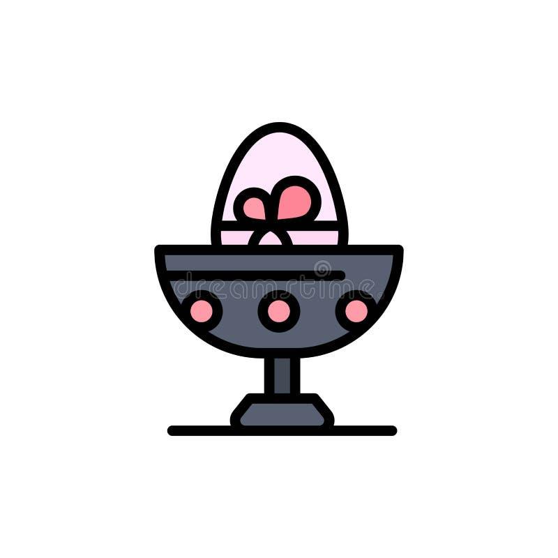 Gotowany, Gotowany jajko, wielkanoc, jajko, Karmowa Płaska kolor ikona Wektorowy ikona sztandaru szablon ilustracja wektor