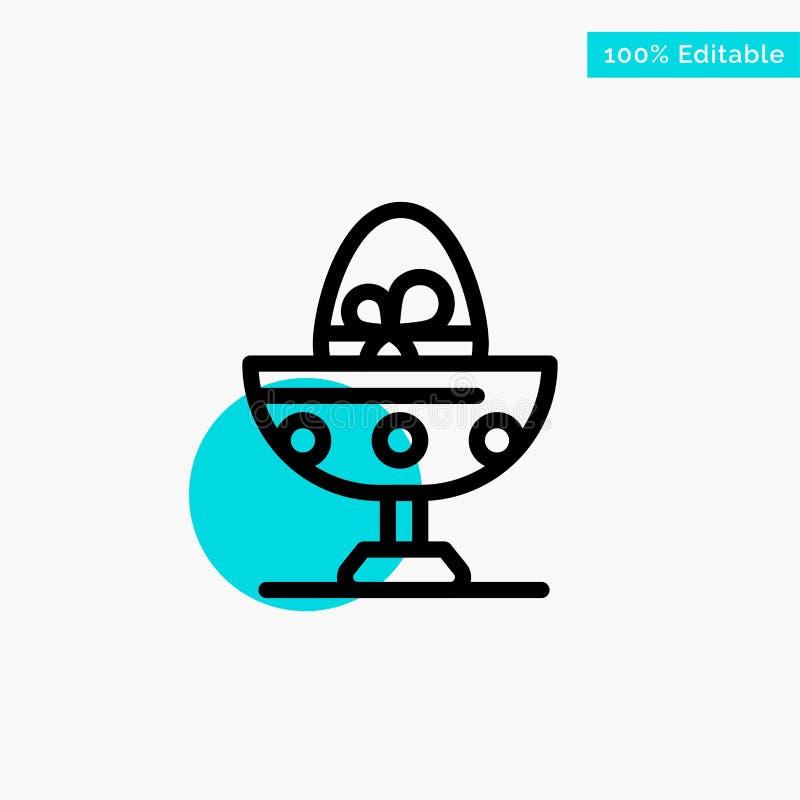 Gotowany, Gotowany jajko, wielkanoc, jajko, Karmowa turkusowa główna atrakcja okręgu punktu wektoru ikona ilustracji
