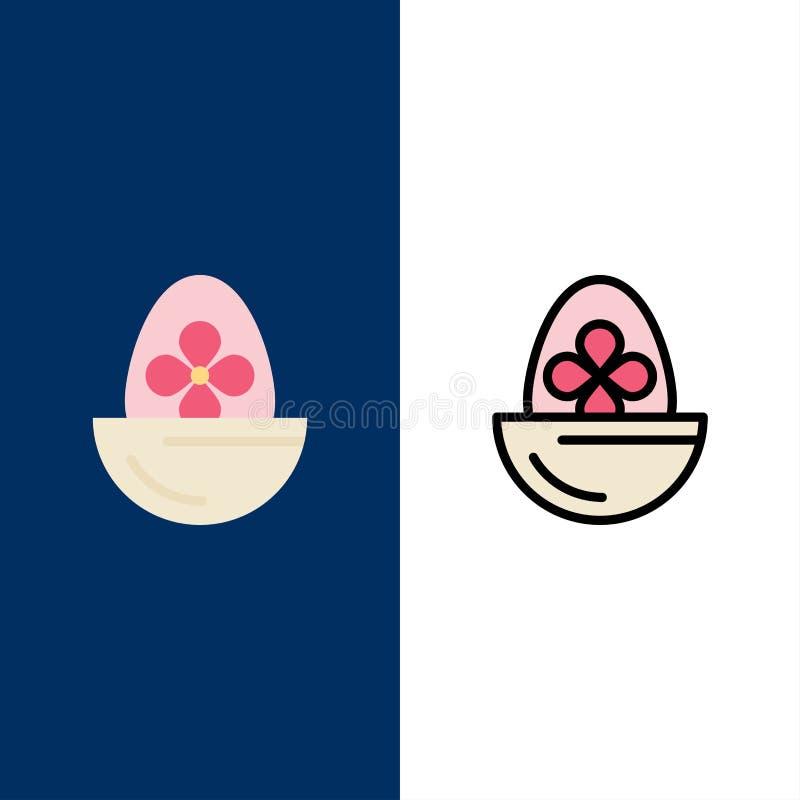 Gotowany, Gotowany jajko, wielkanoc, jajko, Karmowe ikony Mieszkanie i linia Wypełniający ikony Ustalony Wektorowy Błękitny tło ilustracji
