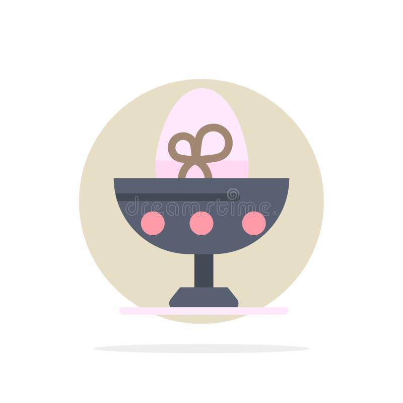 Gotowany, Gotowany jajko, wielkanoc, jajko, Karmowego Abstrakcjonistycznego okręgu tła koloru Płaska ikona ilustracja wektor
