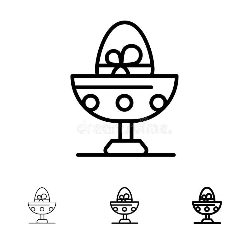 Gotowany, Gotowany jajko, wielkanoc, jajko, Karmowy czerni linii ikony set, Śmiały i cienki ilustracji