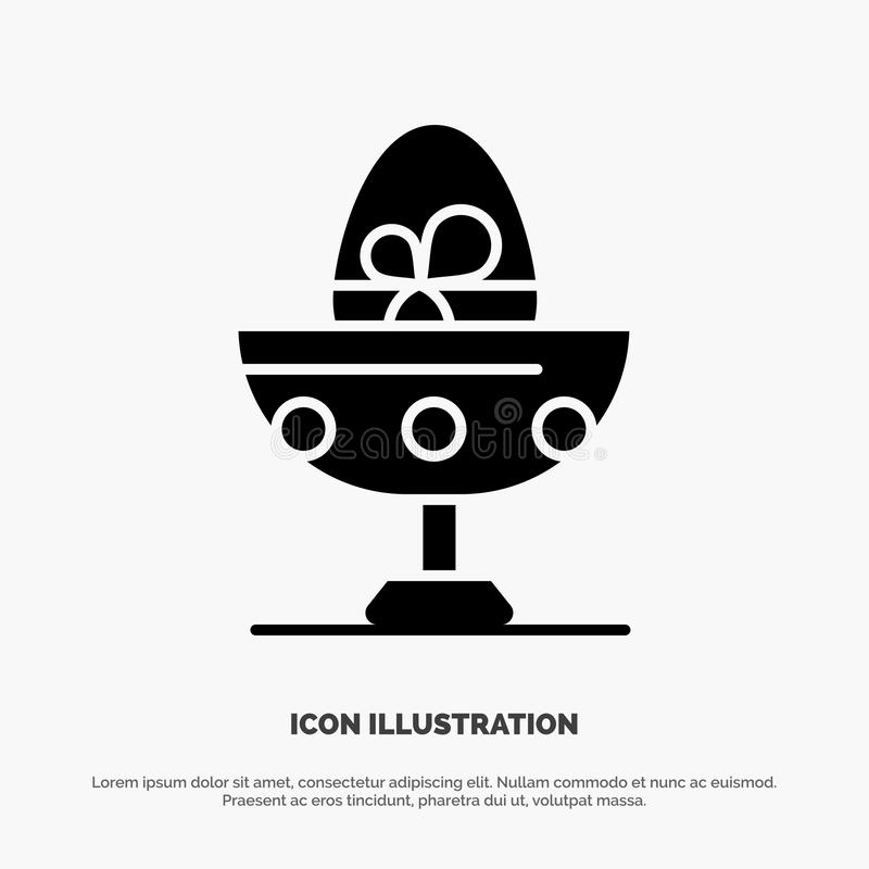Gotowany, Gotowany jajko, wielkanoc, jajko, Karmowy stały glif ikony wektor ilustracji