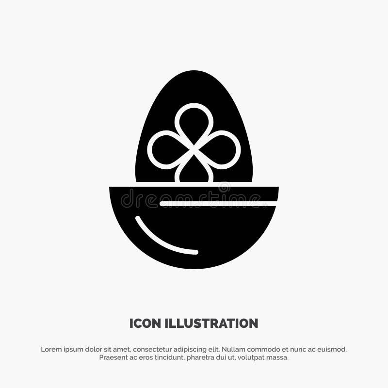 Gotowany, Gotowany jajko, wielkanoc, jajko, Karmowy stały glif ikony wektor royalty ilustracja