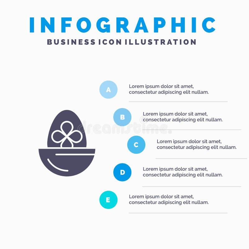 Gotowany, Gotowany jajko, wielkanoc, jajko, Karmowy Stały ikony Infographics 5 kroków prezentacji tło royalty ilustracja