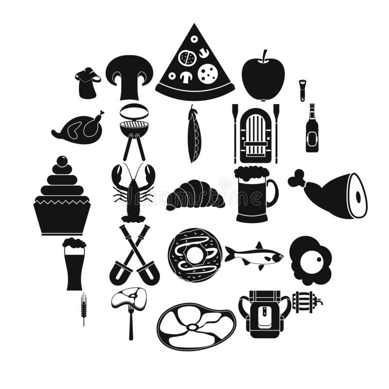 Gotowe mięsne ikony ustawiać, prosty styl ilustracja wektor
