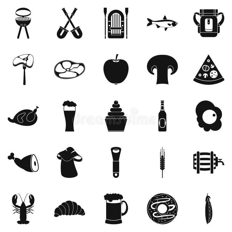 Gotowe mięsne ikony ustawiać, prosty styl royalty ilustracja