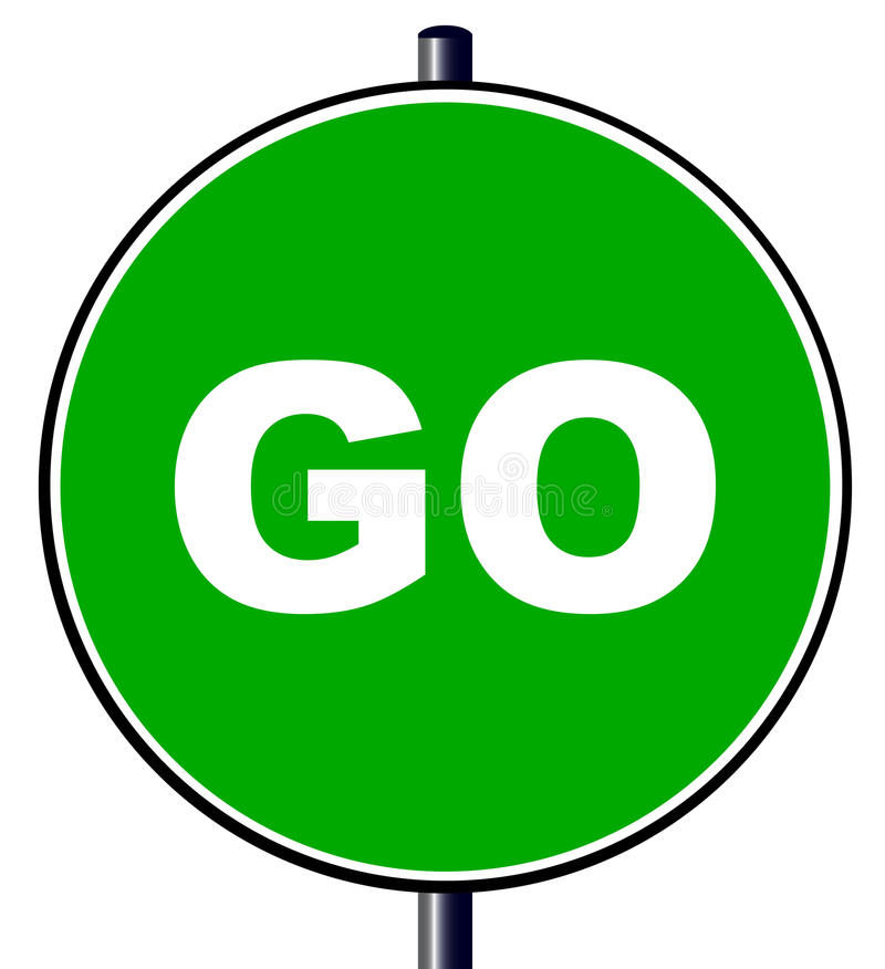 GoTraffic Sign. The go green traffic sign isolated over a white background royalty free illustration