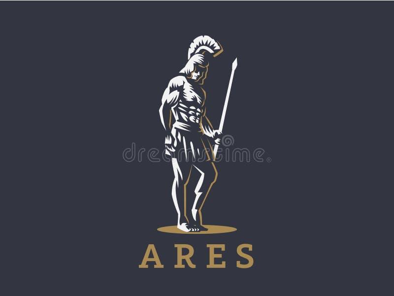 Gott Ares oder Mars mit einer Stange stock abbildung