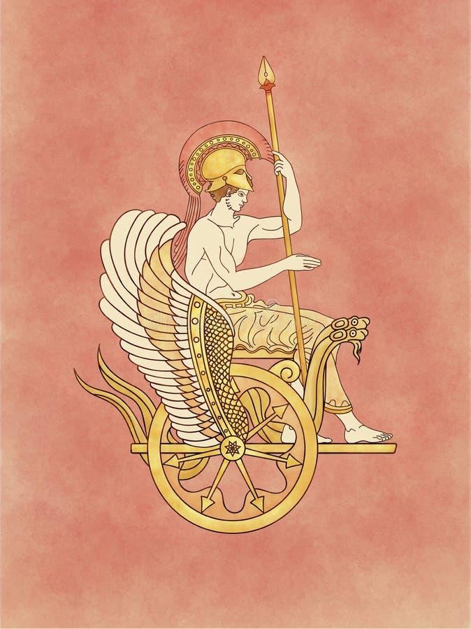 Gott des Krieges Ares, das auf einem goldenen Schlangenkampfwagen sitzt lizenzfreies stockfoto