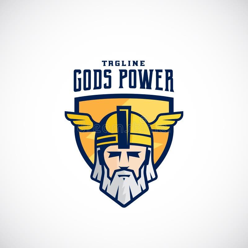 Gott-Energie-Vektor-Sport-Team oder Liga Logo Template Odin Face in einem Schild, mit Typografie stock abbildung