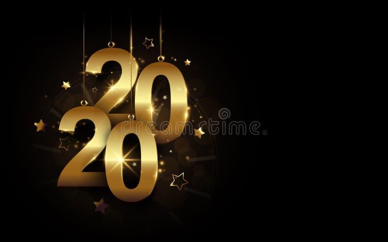 Gott nytt år 2020-banderoll Guldmousserande lyx 2020 Kalligrafi och klocka med stjärnor på svart bakgrund royaltyfri illustrationer