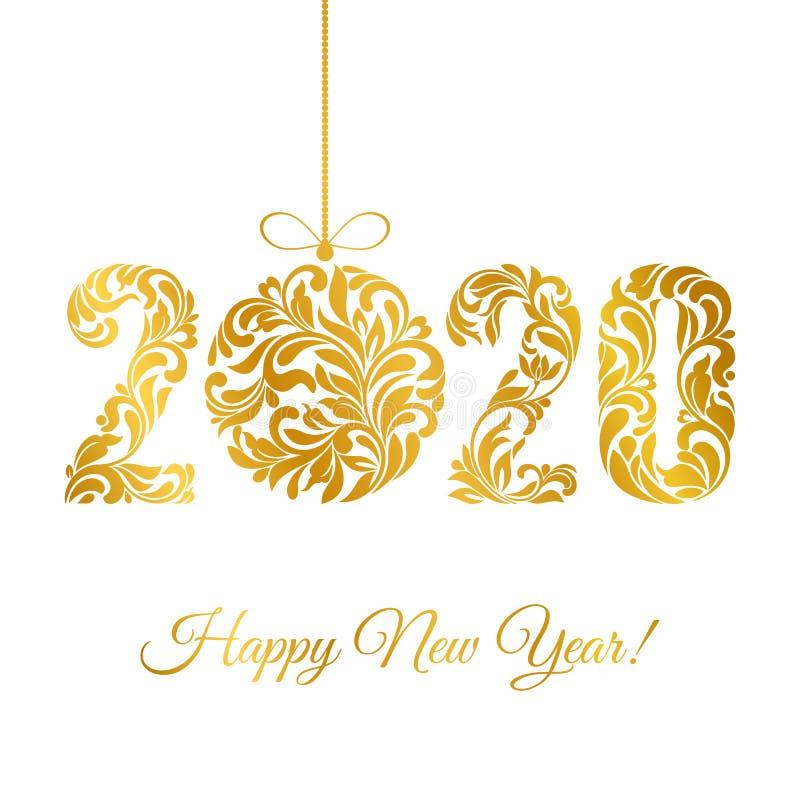 Gott nytt år 2020 Dekorativt typsnitt av snurrar och florala element Guldnummer och julboll isolerade på vitt royaltyfri illustrationer