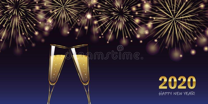 Gott nytt år 2020 - gyllene fyrverkerier och gratulationskort för champagneglas royaltyfri illustrationer