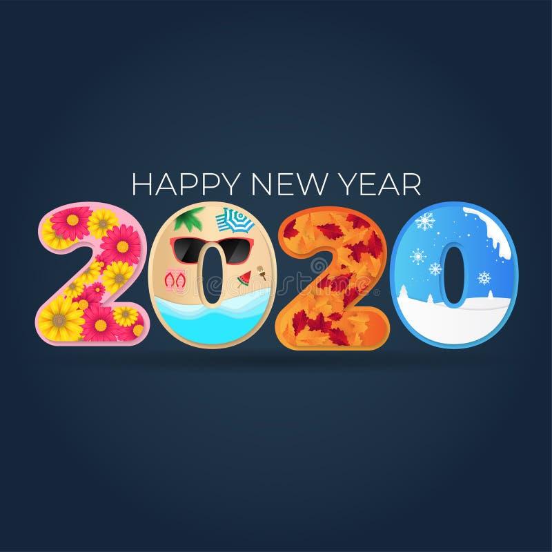 2020 Gott nytt år 4 säsonger: vår, sommar, fall, vinter, isolerad på nummerbakgrund för hälsningskort, kalender, banderoll, stock illustrationer